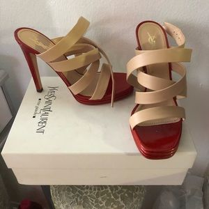 YSL Sandals size 9 new with box red and beige